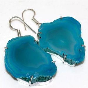 New Agate Geode Druzy Slice Silver Earrings.